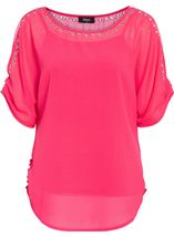 Eyelet Split Sleeve Chiffon Top