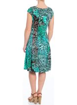 Short Sleeve Leaf Print Panelled Dress