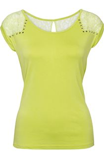 Stud And Lace Trim Jersey Top - Bright Lime