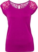 Stud And Lace Trim Jersey Top