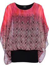 Double Layered Chiffon And Jersey Kimono Top