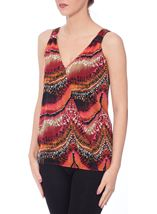 Printed Sleeveless Jersey Crossover Top