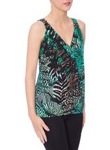 Leaf Printed Sleeveless Jersey Crossover Top