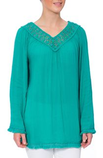 Crochet Trim Long Sleeve Crinkle Crepe Top - Electric Green