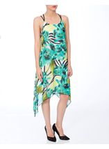 Strappy Floral Printed Dip Hem Chiffon Dress