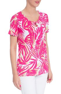 Anna Rose Palm Printed Short Sleeve Jersey Top