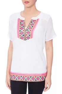 Anna Rose Tribal Embroidered Crinkle Cotton Top - White