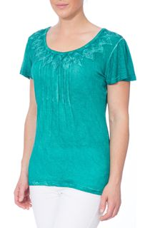 Short Sleeve Washed Jersey Top - Green