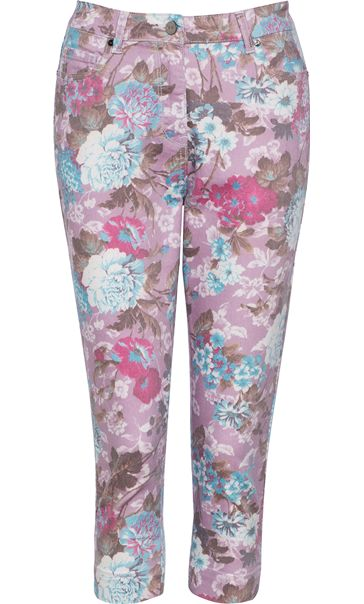 Cropped Floral Print Stretch Jeans
