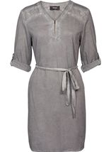 Cold Wash Turn Up Sleeve Cotton Tunic