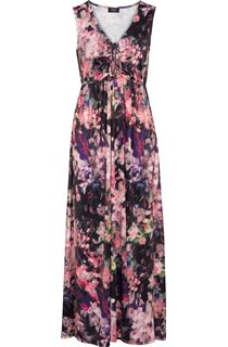 Sleeveless Floral Print Stretch Maxi Dress