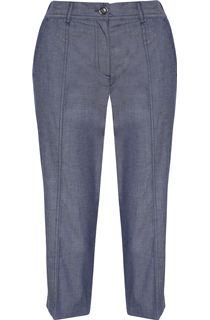 Anna Rose Cropped Chambray Trousers - Navy