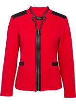 Diamond Design Faux Leather Trim Jacket