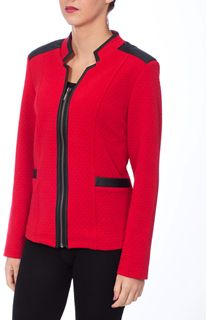 Diamond Design Faux Leather Trim Jacket - Red