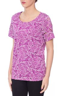 Anna Rose Leaf Print Short Sleeve Top - Pink