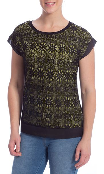 Lace Overlay Short Sleeve Top