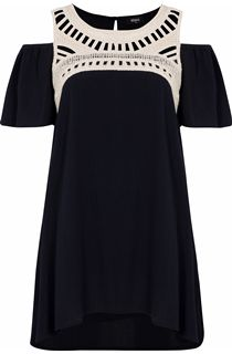 Cold Shoulder Crinkle Georgette Tunic - Black