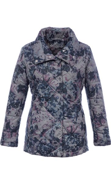 Diamond Quilted Floral Coat