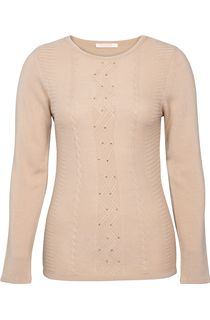 Anna Rose Embellished Knitted Top - Beige