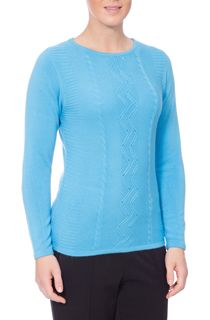 Anna Rose Embellished Knitted Top - Blue