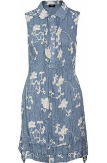 Crinkle Embroidered Sleeveless Dress - Blue