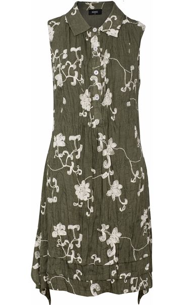 Crinkle Embroidered Sleeveless Dress