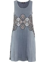 Embellished Dip Dye Crinkle Chiffon Midi Dress