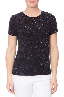 Anna Rose Embellished Short Sleeve Top - Black