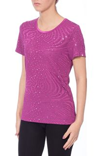 Anna Rose Embellished Short Sleeve Top - Magenta