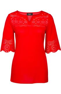 Laser Cut Crepe Top - Red
