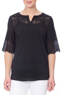 Laser Cut Crepe Top - Black