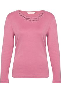 Anna Rose Long Sleeve Embellished Top - Pink