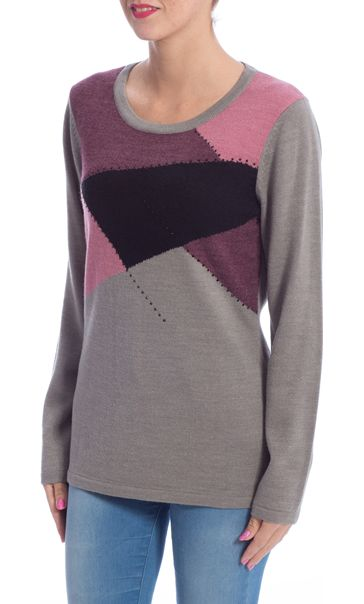Anna Rose Colour Block Embellished Knit Top