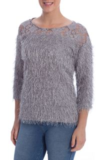 Eyelash Knit Top - Cloud
