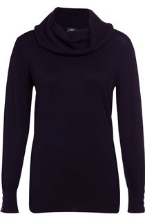 Everyday Cowl Neck Knit Top - Black