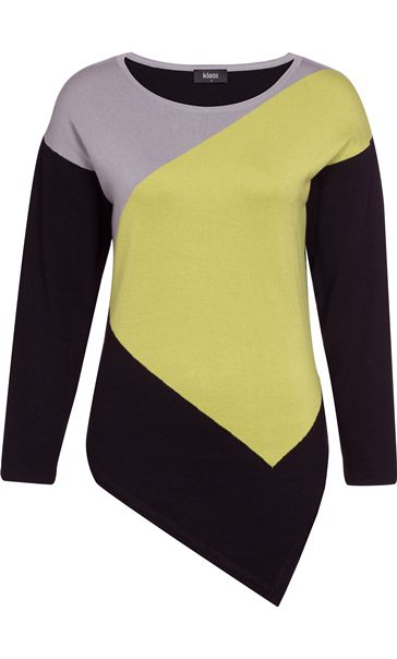 Dipped Hem Colour Block Knit Top