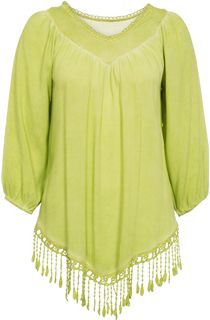 Tassel Hem Washed Top - Green