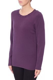 Anna Rose Jewelled Neck Knit Top - Deep Purple