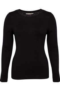 Anna Rose Jewelled Neck Knit Top - Black