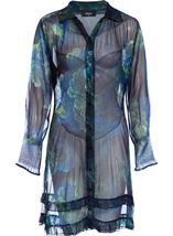 Long Floral Sheer Georgette Tunic