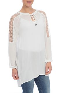 Lace Trim Crinkle Tunic - Cream