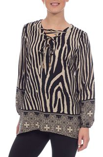Lace Up Animal Print Top