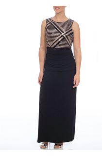 Sequin Trim Sleeveless Maxi Dress