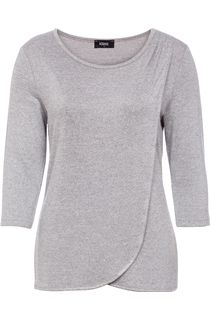 Three Quarter Sleeve Wrap Over Knit Top - Grey Marl