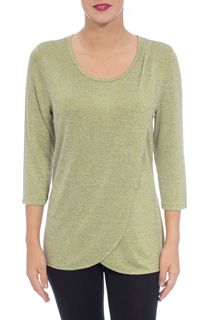 Three Quarter Sleeve Wrap Over Knit Top - Pistachio