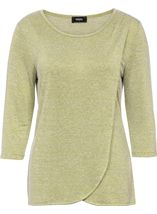 Three Quarter Sleeve Wrap Over Knit Top