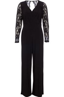 Wide Leg Lace Trim Jumpsuit