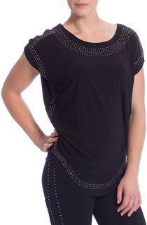 Loose Fit Embellished Stretch Top - Black