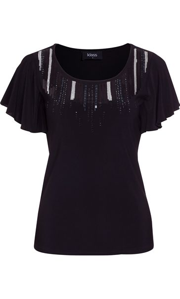 Embellished Jersey Short Sleeve Top