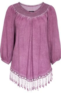 Tassel Hem Washed Top - Heather